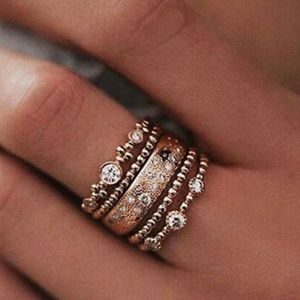 New 5Pcs beautiful rose gold set rings